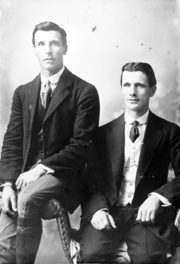 Studio portrait of Matthew Dunn junior, left ,  and his brother, Jack Dunn.