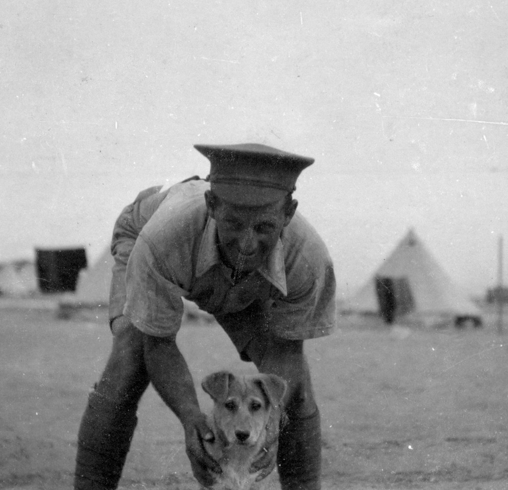 Cyril Biocknell in camp in Egypt with the regimental jackal