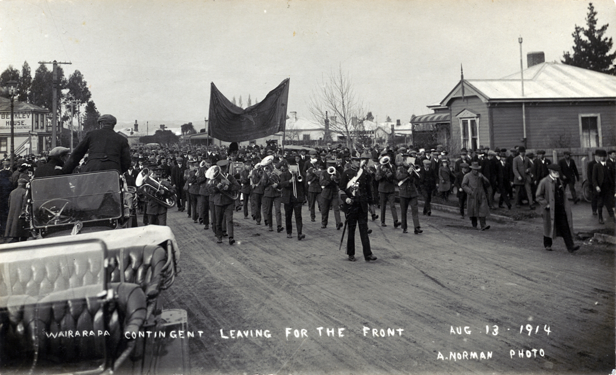 Masterton's first  volunteers march towards the railway station, 13 August 1914