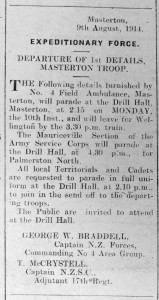 Notice from the Wairarapa Daily Times of August 10, 1914