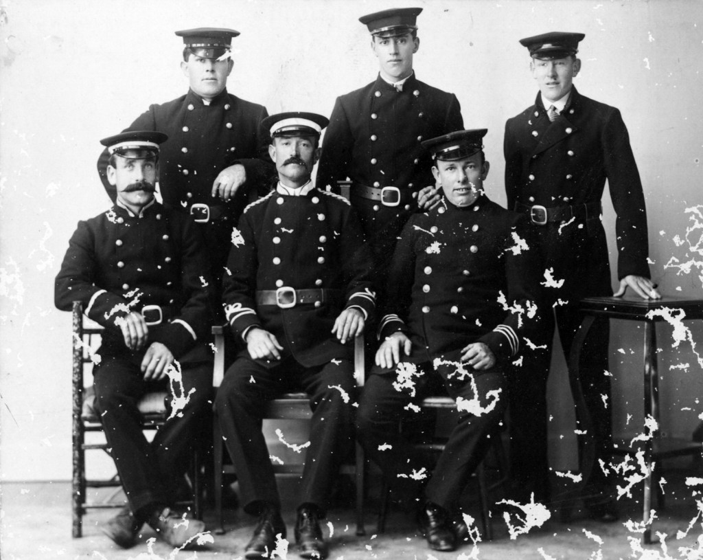 Ted Lefort is seated at left in this photograph of the Martinborough Volunteer Fire Briagde