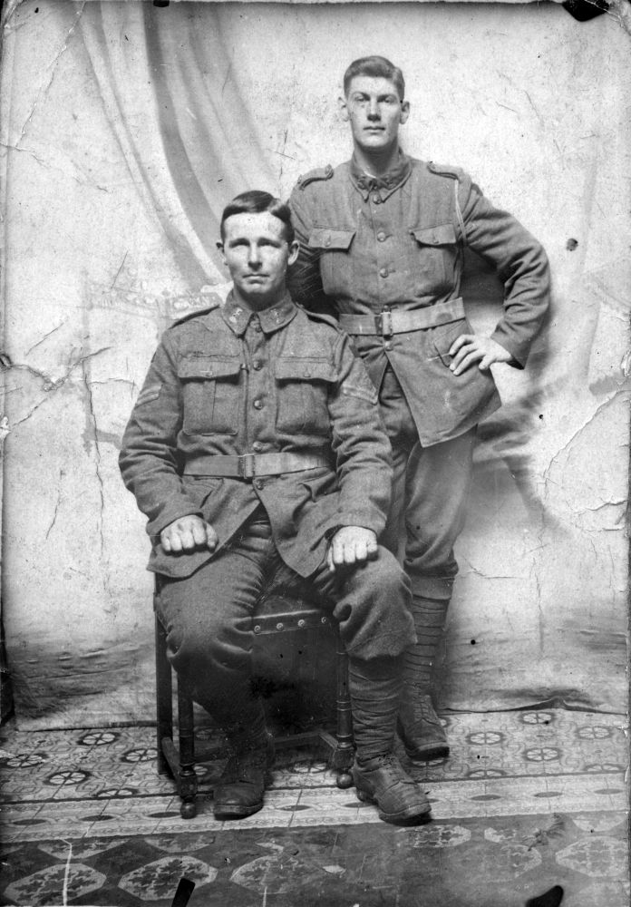 Bill Nielsen (standing) and Thomas Denbee (Carterton), both of 2nd Battalion, New Zealand Rifle Brigade, at Armentieres in June 1916. Denbee was killed soon after on 19 July.