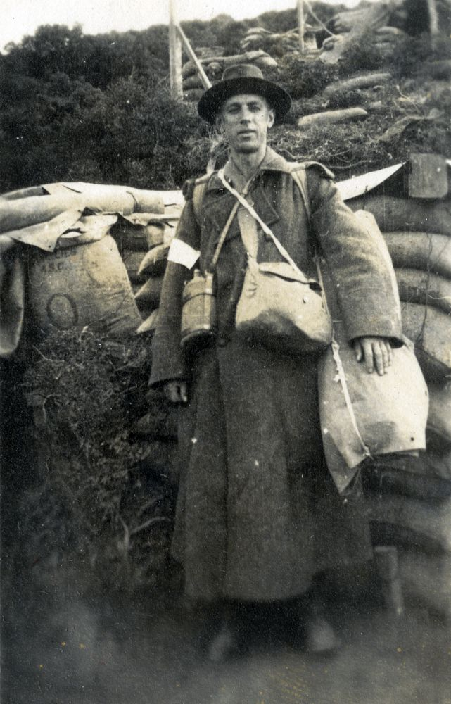 Norman Prior, with his worldly goods, ready to leave Gallipoli, December 1915.
