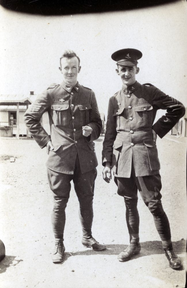 Sergeant Norman Shepherd (left) with another sergeant at Featherston Military Camp.