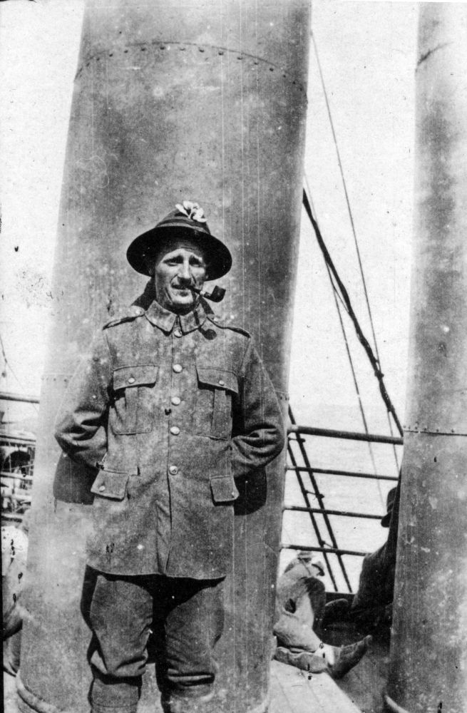 Albert Summers on a troopship, probably returning to New Zealand in 1919.